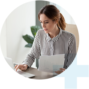 woman reviewing papers
